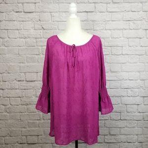Lane Bryant magenta pink ruffle sleeve peasant top